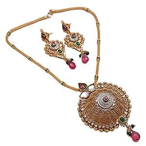 Colgante de Jade hecha a mano de la India Kundan Polki chapado en oro de la joyería