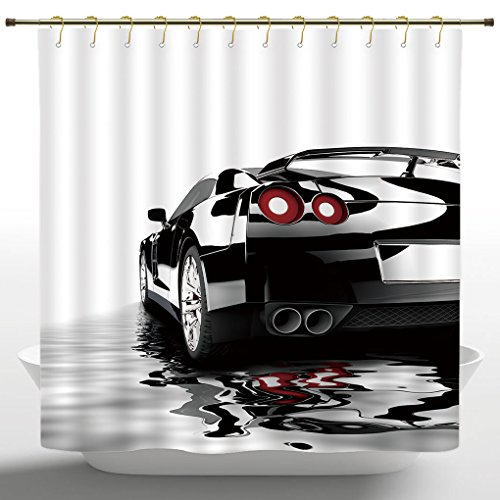 Eco-Friendly Shower Curtain by iPrint,Cars,Modern Black Car with Water Reflection Prestige Fast Engine Performance Lifestyle,Black Red White,Duty Cute Fabric Shower Curtain for ()