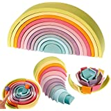 Extra Large 12-Piece Rainbow Tunnel Stacker Toy in Pastel Colors - Wooden Nesting Puzzle for Creative Sculpture Building