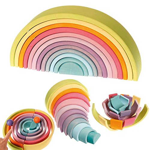 Extra Large 12-Piece Rainbow Tunnel Stacker Toy in Pastel Colors - Wooden Nesting Puzzle for Creative Sculpture Building (Rainbow Stacker)