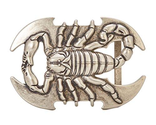Gurscour Fashion Western Antique Silver Engraved Flower Scorpion Belt (Scorpion Buckle)