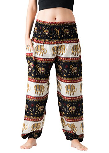 Bangkokpants Women's Casual Pants Harem Bohemian Clothes Hippie Boho Yoga Outfits Smocked Waist (Bohemian Black, One Size)