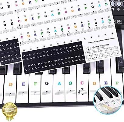 Spartas Store Pegatinas para pianos o teclados,Pegatinas para teclados,Etiqueta engomada del teclado de piano,Pegatina Teclado Electrónico para 37/49/54/61/88 Teclas.: Amazon.es: Instrumentos musicales