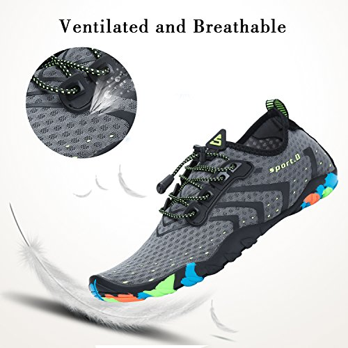 Dry Pool Beach Swim gray Non Boating Shoes Yoga Mens Sole Swimming Aqua Slip Sports Rubber with Shoes Shoes for Lace Womens Quick Aerobics Surf Snorkeling Water Up AqHvI