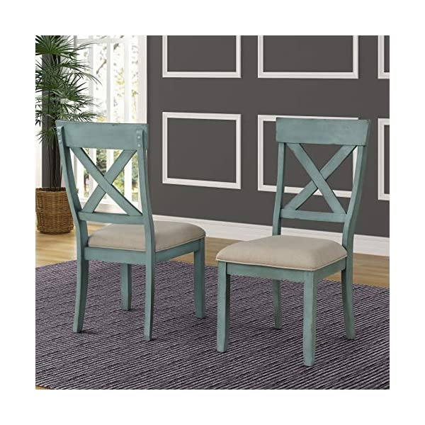 Roundhill Furniture Prato 6-Piece Table Set with Cross Back Chairs and Dining Bench, Blue