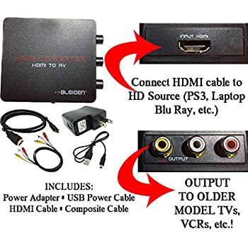 HDMI to Composite AV Converter for Laptop, Blu-Ray, NVIDIA Shield Android  TV, PS4, PS3 and other HDMI Devices - Use with Old TVs that do not have  HDMI