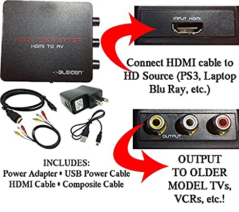 Amazon.com: HDMI to Composite AV Converter for Laptop, Blu-Ray ...