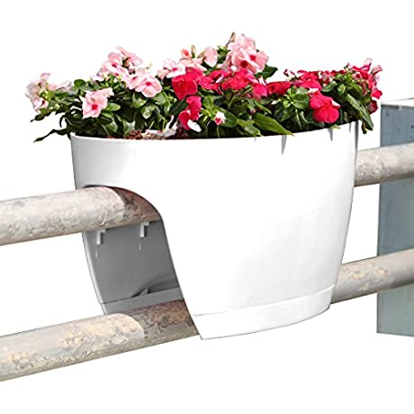 24 In Railing And Deck Planter Windowbox Greenbo XL Pack Of 6 From Greenbo White