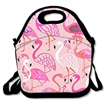 Rose Pinky Flamingo Lunch Tote Bag Picnic Lunchbox Insulated Reusable Container Organizer Form Adults, Kids