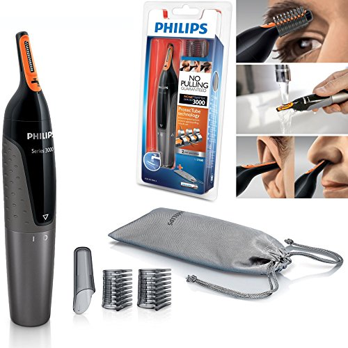 PHILIPS NT3160 Nose Ear Eyebrow Hair Trimmer Shaver - Washable/No Pulling/No Cut Clippers & Trimmers