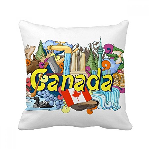 DIYthinker Rocky Mountains CN Tower Maple Canada Throw Pillow Square Cover