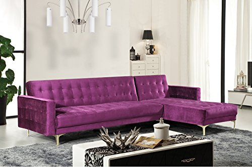 - Iconic Home FSA9010-AN Amandal Convertible Sofa Sleeper Bed L Shape Chaise Tufted Velvet Upholstered Gold Tone Metal Y-Leg Modern Contemporary, Right Facing Sectional, Purple Velvet