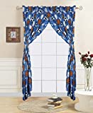 4 Piece curtain set: 2 panels + 2 tie backs sports foot/basket/base ball print kids room