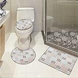 Arabian 3 Piece Extended bath mat set Oriental Motif Pastel Patchwork Pattern with Filigree Ornaments Illustration Elongated Toilet Lid Cover set White Beige Grey