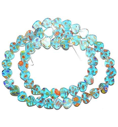 Aqua Blue w Multi-Color Flowers 8mm Flat Heart Millefiori Glass Beads 15#ID-813 (Blue Millefiori Heart)
