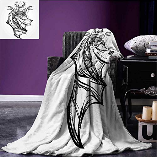 RenteriaDecor Occult Cozy Flannel Blanket Nocturnal Bat Drawing Crescent Moon with Spiritual Night Animal Creature Graphic Oversized Travel Throw Cover Blanket Grey Black Bed or Couch 50