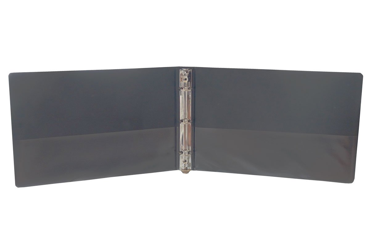 """1"""" Heavy Duty Landscape Binder - Black vinyl - Holds text in horizontal format - Overlay inserts for the front, spine and back with inside pockets - Great for engineering drawings, city planning, by LandscapeBinder-com (Image #3)"""