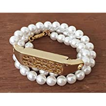 """Handmade White Pearls Bracelet For Fitbit Flex 2 Activity Tracker With Flowers Design Gold Metal Housing Fitbit Flex 2 Adjustable Jewelry Band 5"""" Size"""