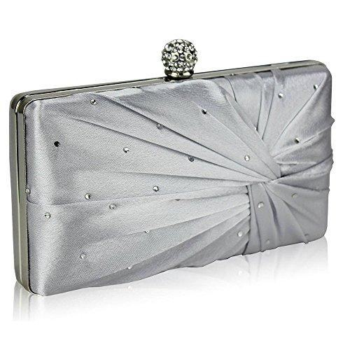 Trendstar de las mujeres embrague tarde bolsas Damas diseñador estudiantes de baile de las partes de las bolsas de satén embrague - plata