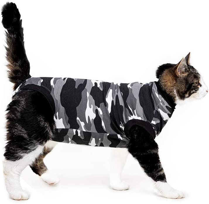 Suitical Recovery Suit for Cats - Black Camouflage