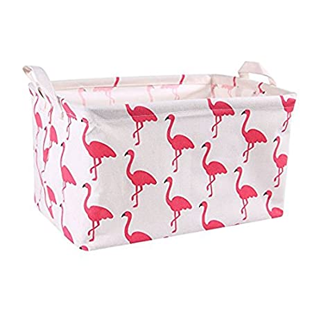 Flamingo Toy Storage Bins Canvas Collapsible Storage Basket with Handles Toy Organizer for Nursery, Kid's Toys, Closet & Laundry, Gift Basket by Mofeng Kid's Toys Toy Organizer Basket Bin