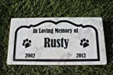Sandblast Engraved Marble Pet Memorial Headstone Grave Marker Dog Cat bordr 6x12