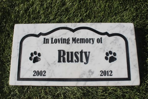 (Sandblast Engraved Marble Pet Memorial Headstone Grave Marker Dog Cat bordr 6x12)