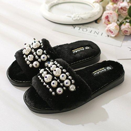 zapatillas Zapatillas DogHaccd estancia durante piso antideslizante de zapatillas y con primavera otoño el interiores lujoso Elegante Negro3 de y la algodón hogar grueso invierno CqpwqXS