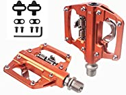 """MTB Mountain Bike Pedals Compatible with Shimano SPD 9/16"""" Dual Function Platform Clipless Pedals and Cle"""