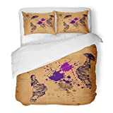 Emvency Decor Duvet Cover Set Twin Size Brown Mexican Gypsy Dancers on Grunge Purple Mexico Sombrero Retro Woman Folk 3 Piece Brushed Microfiber Fabric Print Bedding Set Cover