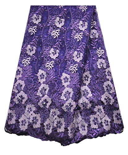 SanVera17 African Lace Net Fabrics Nigerian French Fabric Embroidered and Beading Guipure Cord Lace for Party Wedding (Purple) 5 Yards