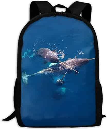 55253ead42 Sexy lovely Handsome Narwhals Interest Print Custom Unique Casual Backpack  School Bag Travel Daypack Gift
