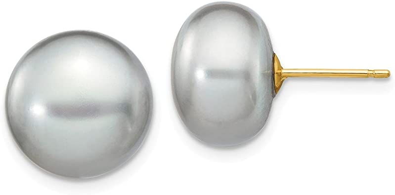 925 Sterling Silver 11-12mm White Freshwater Cultured Button Pearl Stud Post Earrings