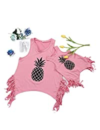 One Persent Family Matching T-Shirt Top Clothes Parent-Child Sleeveless Tassel Top Vest Mommy and Me Fruits Outfits