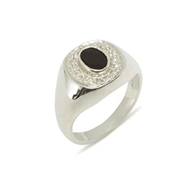 31be10f705cb0 9ct White Gold Natural Onyx & Diamond Mens Signet Ring - Sizes N to ...