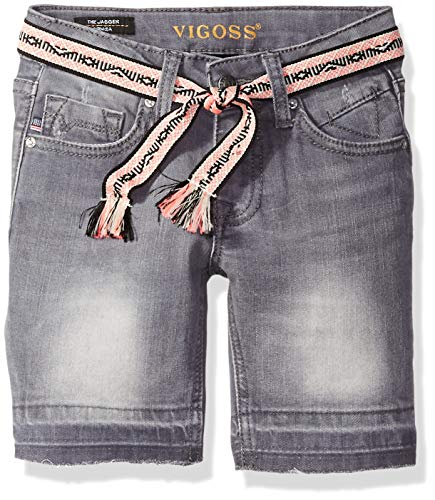Girls Belted Denim Bermuda - VIGOSS Girls' Big' Bermuda Short, Belted Storm, 8