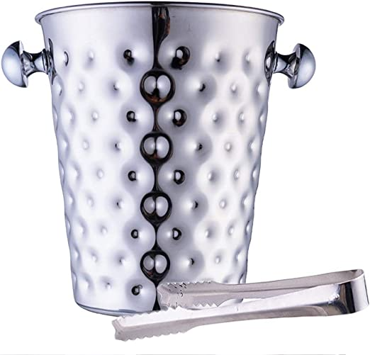 Insulated Stainless Steel Ice Bucket Tongs Serving Wine Cooler Champagne Cubes