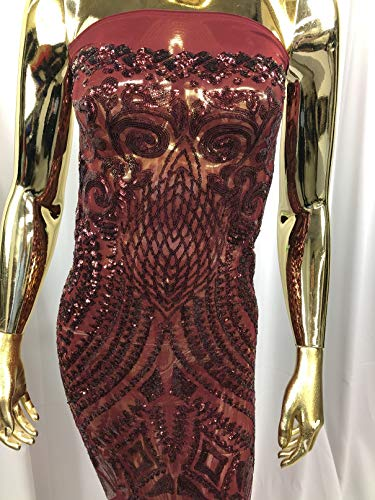 - 4 Way Stretch Sequins Fabric with Geometric Patterns - Burgundy - Shiny Sequins Fashion Design Fabric Sold in Many Colors by The Yard