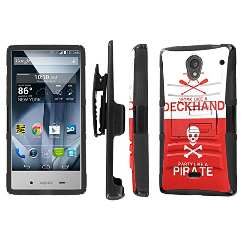 NakedShield Sharp AQUOS Crystal (Pirate Deckhand) Combat Tough Holster KickStand Armor Phone ()