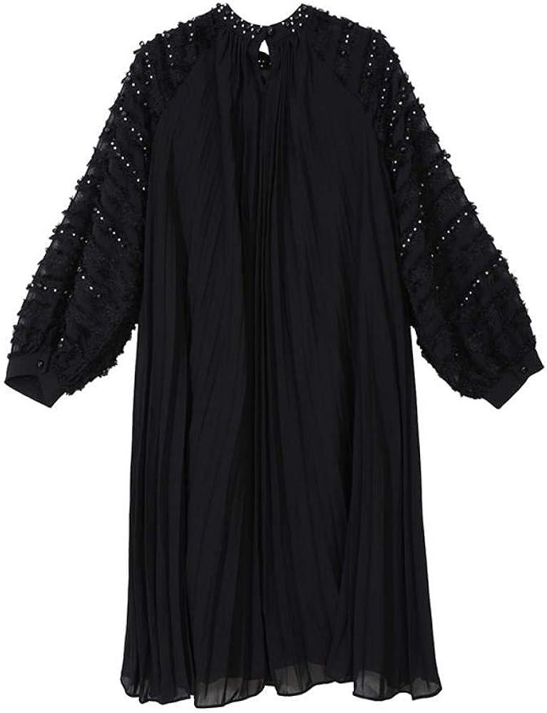 Pinyu Chiffon abito plissettato Hollow del vestito delle donne da modo di estate Black Short Sleeve