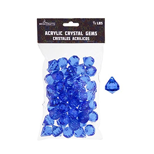 Mega Crafts 1/2 lb Acrylic Gemstones Dark Blue | Plastic Glass Gems For Arts And Crafts, Vase Fillers And Table Scatters, Decoration Stones, Shiny (Red Coral Cube Beads)