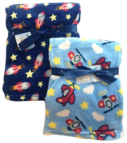 ush Lightweight Furry Fleece Airplane Rocket Pilot Stars Baby Blue Boy Blanket Twins Gift Set ()