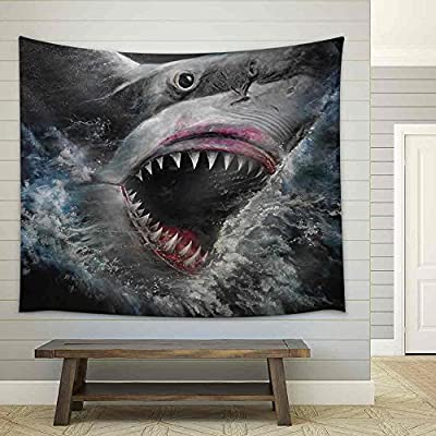 Created Just For You, Incredible Picture, Painting 3D Sharks Fabric Wall