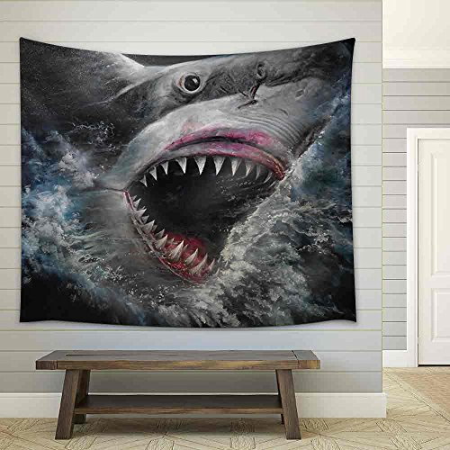 Painting 3D Sharks Fabric Wall