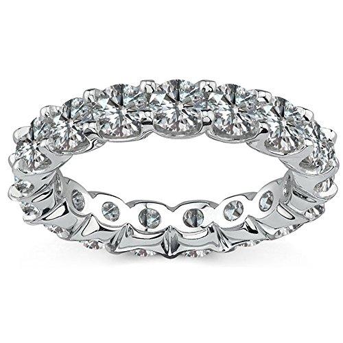 Diamond Full Eternity Ring (1.00 Carat G-H Diamond Full Eternity Engagement Wedding Anniversary U Band Bridal Ring 14K White Gold)