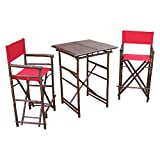 Zew SET-007-6-08 1 High Square Table and 2 High Director Chairs, Red For Sale