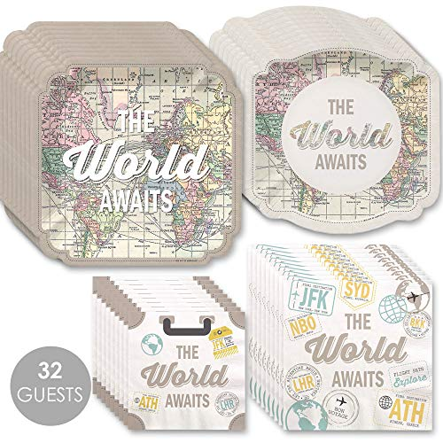 World Awaits - Travel Themed Party Tableware Plates and Napkins - Bundle for 32 -