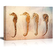 wall26 - Canvas Print Wall Art - Sea Horses on Grunge Background - Gallery Wrap Modern Home Decor | Ready to Hang - 16x24 inches