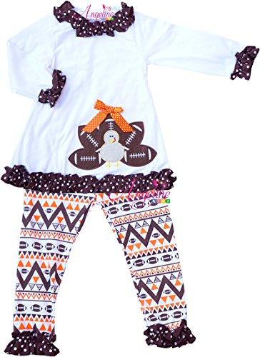 Girls Football Outfits (Little Girls Fall Colors Thanksgiving Football Turkey Legging Set)