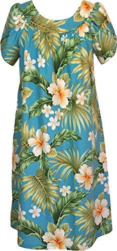 RJC Women's Full Bloom Tropical Tea Length Hawaiian Muumuu House Dress Blue 3X